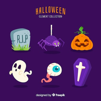 Плоский дизайн коллекции элементов хэллоуина