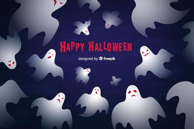 Плоский дизайн хэллоуин призрак фона