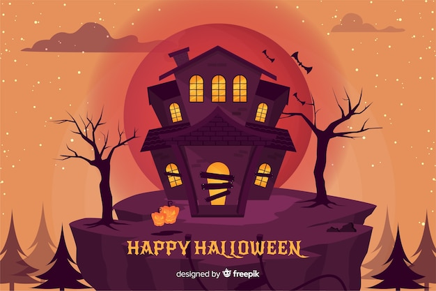 Плоский дизайн фона хэллоуин дом с привидениями