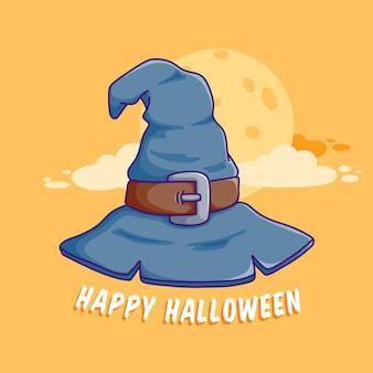 포스터 웹 배너 초대장에 가장 적합한 할로윈 마녀 모자의 평면 디자인