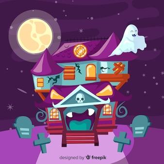 Плоский дизайн дома с привидениями