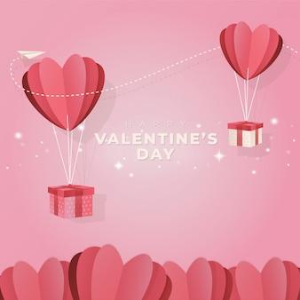 발렌타인 데이 인사말을위한 하트 풍선 및 선물의 평면 디자인