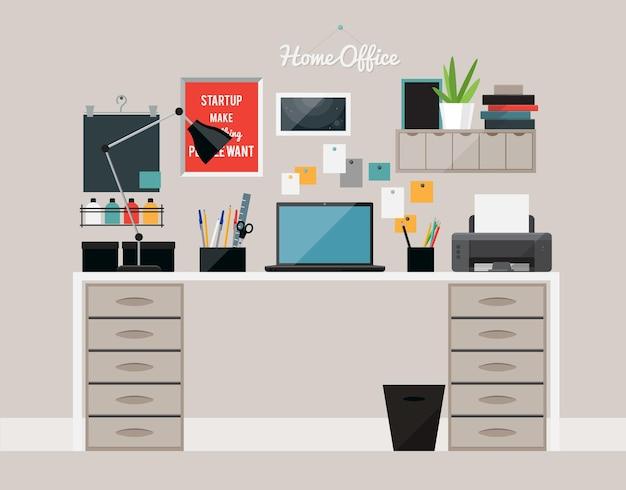 デスクとラップトップを備えたホームオフィスのインテリアのフラットなデザイン