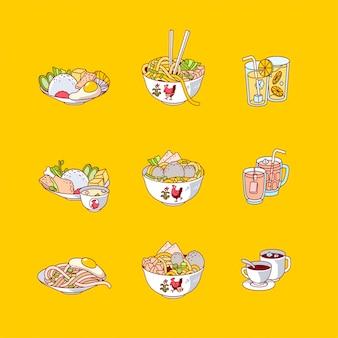 インドネシアの食べ物や飲み物のアイコンベクトル図のフラットなデザイン