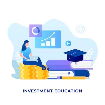 投資教育の概念のフラットなデザイン。