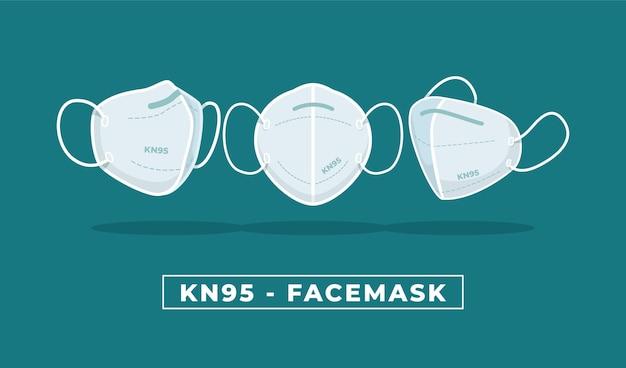 さまざまな視点でのkn95フェイスマスクのフラットデザイン
