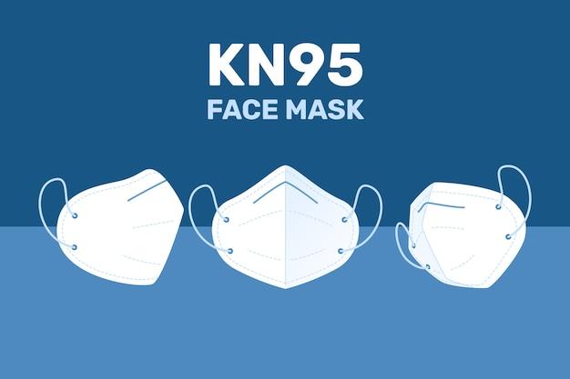 Плоский дизайн маски для лица kn95 в разных ракурсах