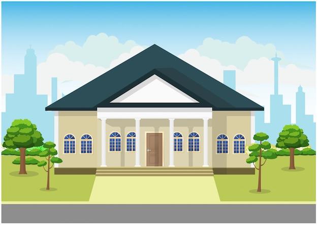 風景の家の概念図のフラットなデザイン