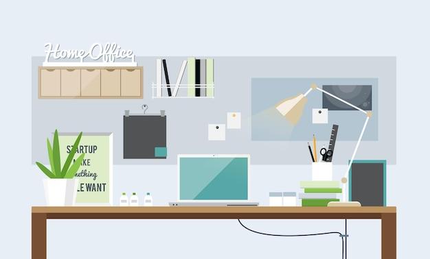 軽いホームオフィスのインテリアのフラットなデザイン