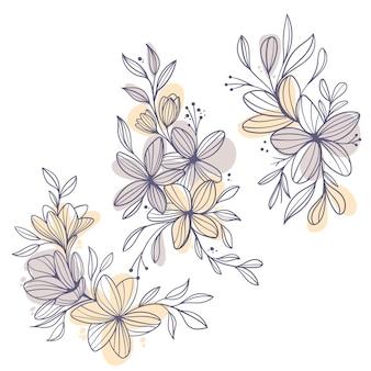 Плоский дизайн линейных листьев и цветов
