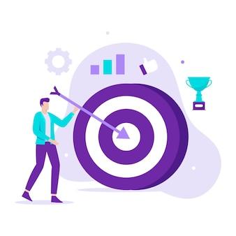 Плоский дизайн иллюстрации бизнес-целей управления. иллюстрация для веб-сайтов, целевых страниц, мобильных приложений, плакатов и баннеров