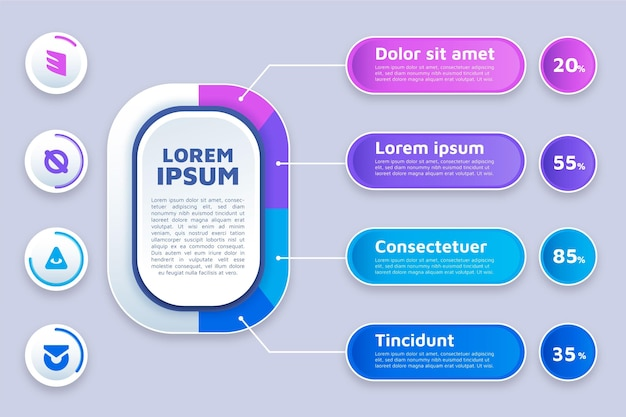 마케팅 인포 그래픽의 평면 디자인