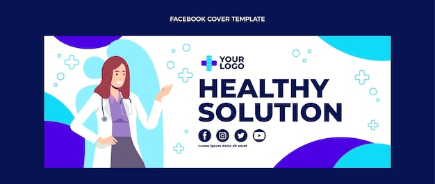 医療facebookカバーのフラットデザイン
