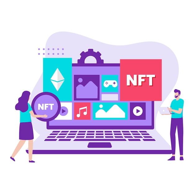 Nft 암호화 예술 개념의 평면 디자인. 웹사이트, 방문 페이지, 모바일 애플리케이션, 포스터 및 배너용 일러스트레이션