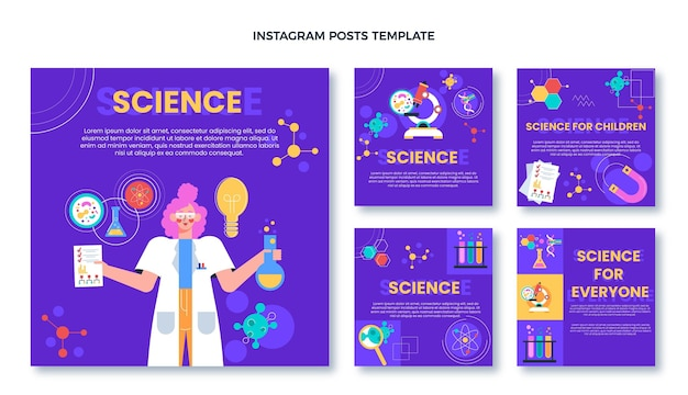 Плоский дизайн научного поста ig