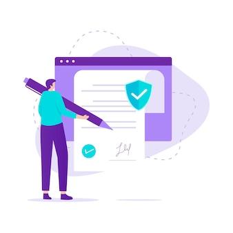 스마트 계약 개념의 평면 디자인입니다. 웹 사이트, 방문 페이지, 모바일 응용 프로그램, 포스터 및 배너에 대한 그림입니다.