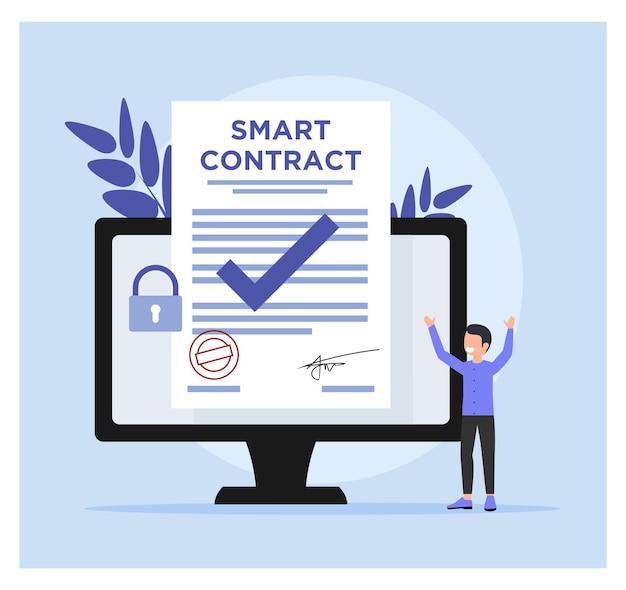 스마트 계약 개념의 평면 디자인