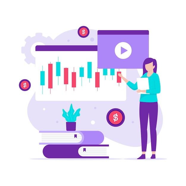 Плоский дизайн концепции курса торговли фондового рынка. иллюстрация для веб-сайтов, целевых страниц, мобильных приложений, плакатов и баннеров