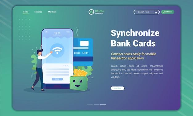 Плоский дизайн синхронизации банковской карты с приложением электронного кошелька на шаблоне целевой страницы