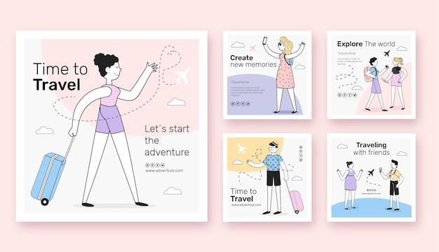 여행 인스타그램 포스트의 평면 디자인