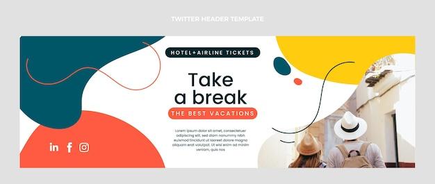 여행 트위터 헤더의 평면 디자인 무료 벡터