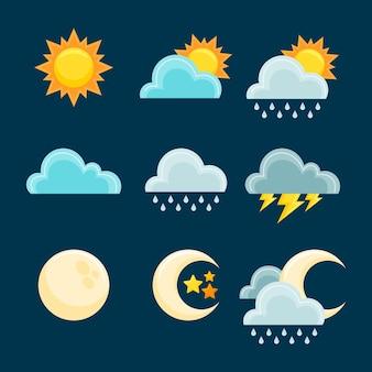 Плоский дизайн погодных эффектов