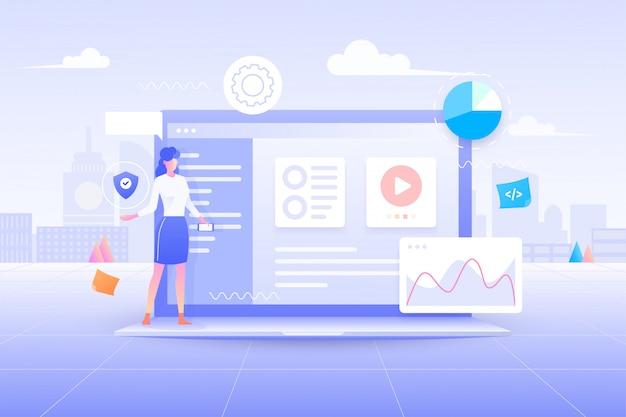 Плоский дизайн веб-разработки, дизайн приложения пользовательского интерфейса, кодирование и программирование на концепции ноутбука с языком программирования и кодом программы и макет на экране иллюстрации.