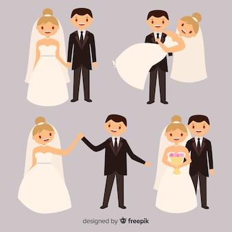 웨딩 커플 컬렉션의 평면 디자인