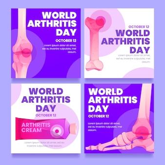 世界関節炎の日のインスタグラム投稿のフラットデザイン