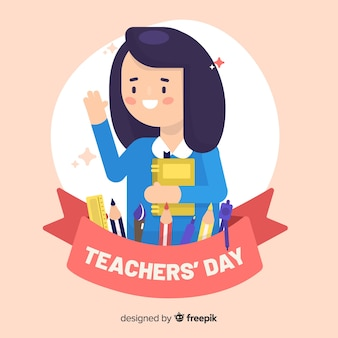 Плоский дизайн всемирного дня учителя