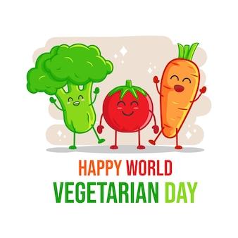 Плоский дизайн всемирного дня вегетарианцев премиум векторы