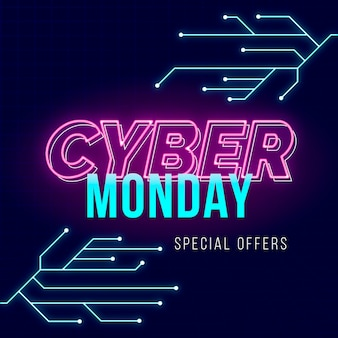 Flat design offer banner cyber monday template