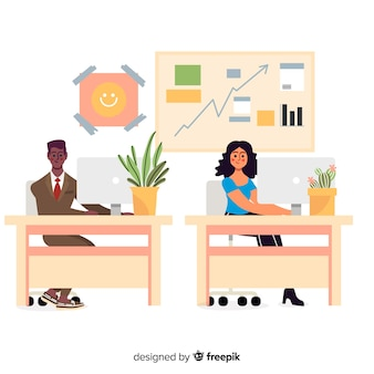 Flat design office workers sitting at desks