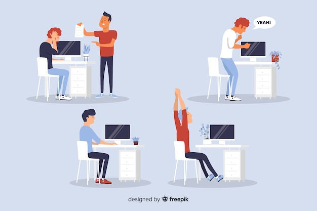 Flat design office workers situations