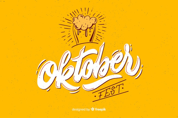 Flat design oktoberbest with glass of beer