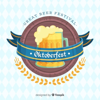 Flat design oktoberfest background with a beer mug