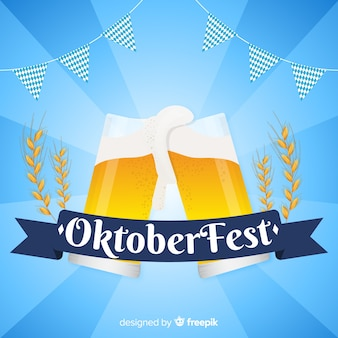 Плоский дизайн октоберфест фон с пивом