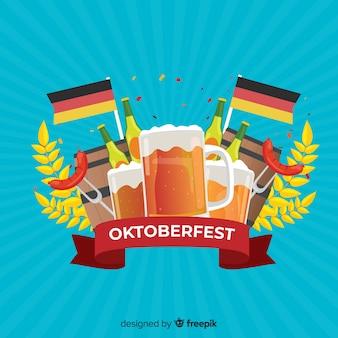 Flat design oktoberfest background with beer