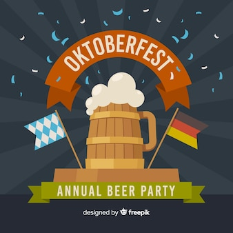 Flat design oktoberfest background with beer