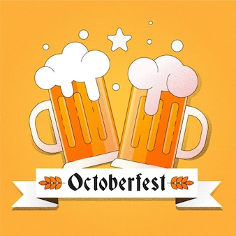 Flat design oktoberfest background with beers