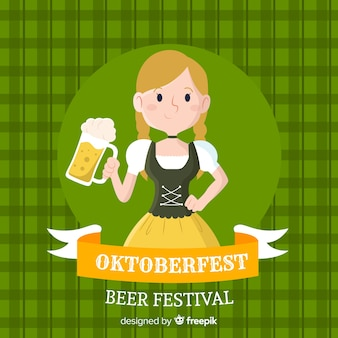 Flat design oktoberfest background with character