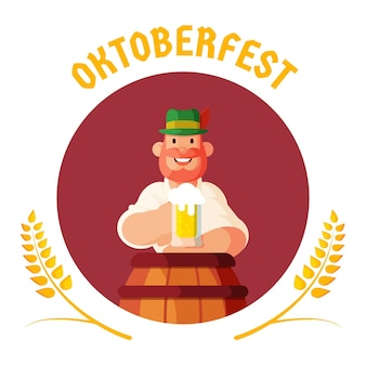 Flat design oktoberfest background with man