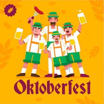 Flat design oktoberfest background with men