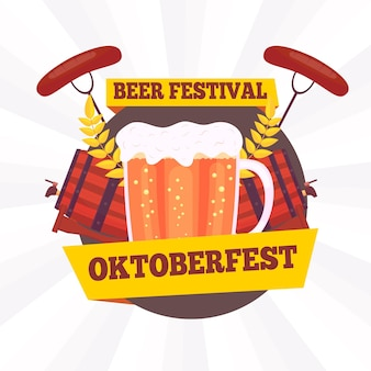 Design piatto sfondo più oktoberfest con pinta e pezzetti