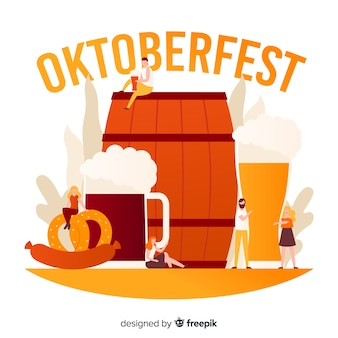 Flat design oktoberfest background