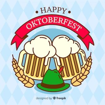 Flat design oktoberfest background