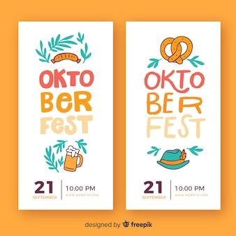 Flat design oktoberfest banner template