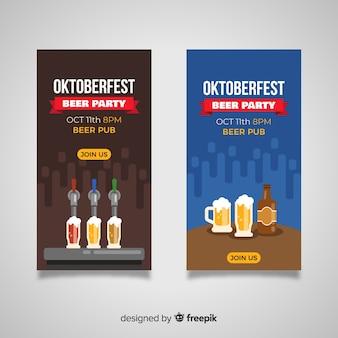 Flat design oktoberfest banners template
