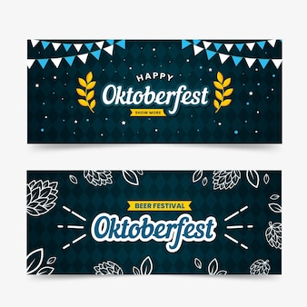 Плоский дизайн шаблона баннеров октоберфест