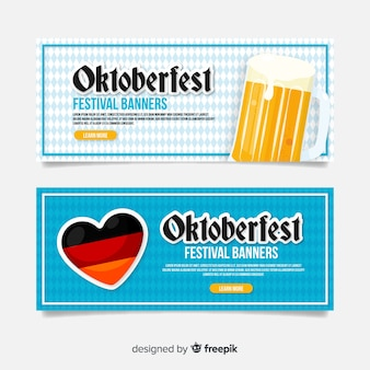 Flat design for oktoberfest banners
